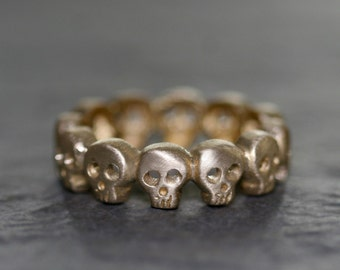 Baby Skull Eternity Band Ring in Brass UNISEX