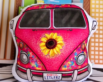 Hippie Bus Plush Pillow Stuffed Car Shaped Pillow Gift for Girls Pink Car Nursery Decor Vintage Camper Van Hippie Baby Decor Car Plushie