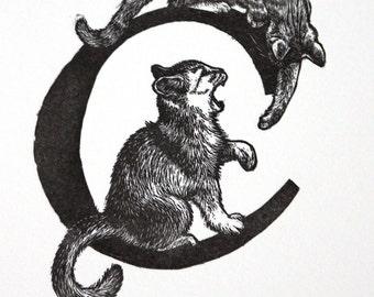 Letter C Print Cat Art