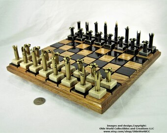 223 Bullet shell chess pieces with marble base. Red Oak Board optional- Free Shipping to U.S.