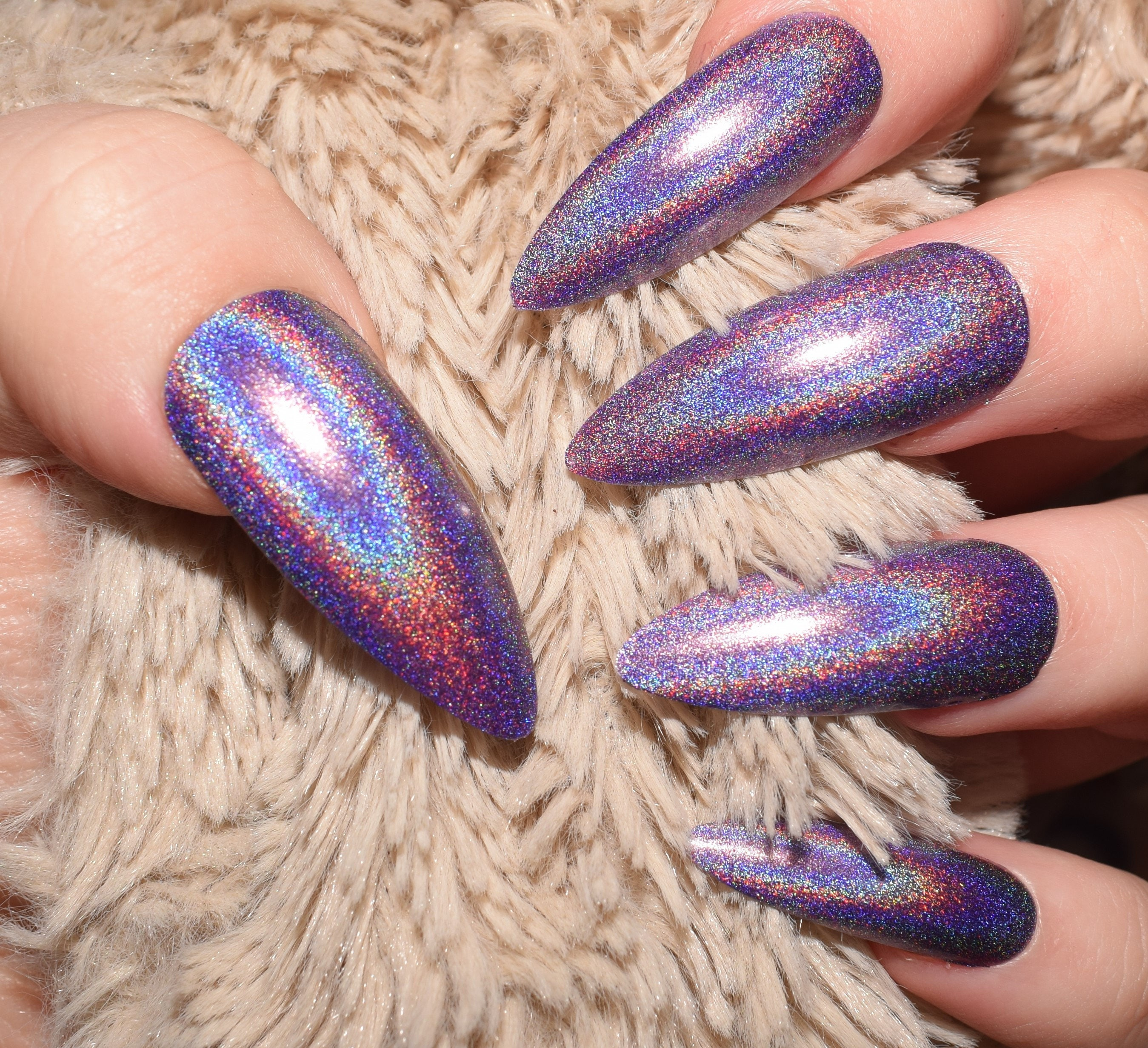 Holographic Purple Nails | Extra Long Stiletto Nails | False Nails ...