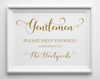 Gentlemen Wedding Bathroom Sign | 8x10 Sign | 5x10 Sign | Printable Sign | Black | Antique Gold | PDF and JPG Files | Instant Download
