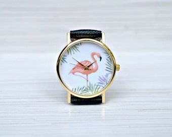 Flamingo|Watch|Gift|for|Women|Pink Flamingo|Tropical|Watch|Unique|Women|watches|Flamingo|Jewelry|Bird|watch|Flamingo print|Palm leaves|Beach