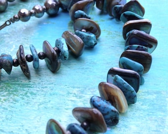 Vintage Turquoise, Abalone and Silver Necklace