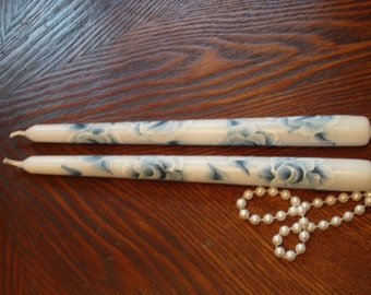 Cottage Chic Blue and White Hand Painted Rose Set Of Tapered Candles