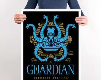 Legend of Zelda Breath of the Wild inspired Guardian Security Funny Poster - signed museum quality giclée fine art print