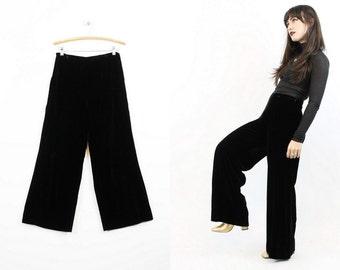 60s Velvet Palazzo Pants Medium / 1960s Wide Leg Trousers / Tidal Wave Pants