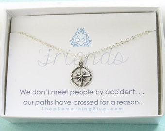 Best Friend Gift • North Star Necklace • BFF Gift • Friendship Jewelry • Compass Necklace • Sterling Silver • Best Friend Jewelry • F02