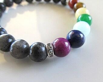 Chakra bracelet gemstone bracelet yoga bracelet 7 chakra labradorite bracelet boho bracelet new age meditation bracelet healing gift.