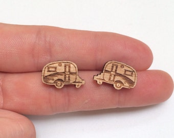 Wood laser cut earrings studs Retro vintage caravan