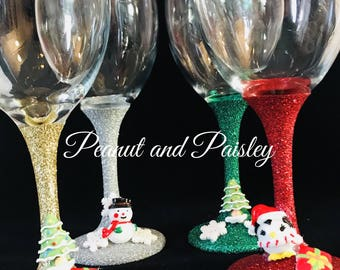 Embellished Christmas glitter glass
