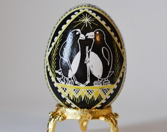 Pysanka egg with Penguins, super cute gift for spots fan couple, Pittsburgh penguins with hokey sticks adorable gift unique handmade
