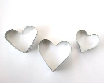 Heart Cookie Cutter Set - (3 cookie cutters) Valentine's Day, Wedding Shower