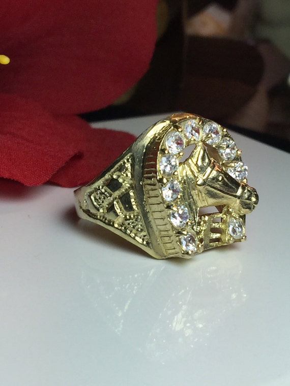 Men s Horseshoe Ring 10k solid gold Men s Vintage