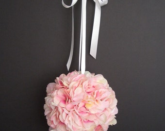 Pink Hydrangea Pomander  Kissing Ball, FFT original,  Silk Wedding Flower Bridal Bouquet Flowergirl Bride Accessory