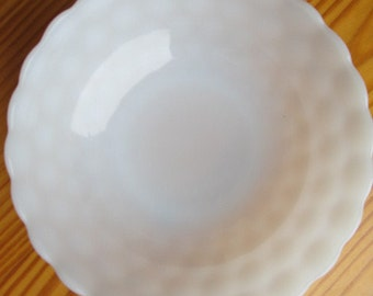 "Anchor Hocking Bubble Milk Glass 8"" bowl"
