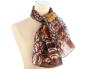 BOHO Silk Scarf Sheer 80s Abstract Kerchief Bohemian Vintage Brown Beige Paisley print Ladies Shawl Hippie Womens Moms Gift