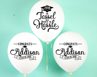 Graduation Balloons Class of 2018 Graduation Decor Congrats Grad Party Balloons Latex Personalized Balloons Tassel Was Worth the Hassle