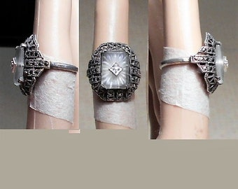1920s Sterling Marcasite Camphor Glass Ring with Diamond.  Size 6 1/2 .  Great Gatsby Art Deco Roaring 20's Beauty. Starburst  Only 249.90
