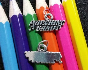2 PCS - Marching Band Music Message Tag Silver Charm Pendant C1000