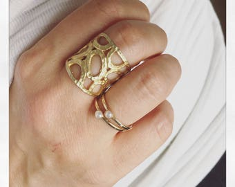Gold Ring - Wide Band Ring, Textured Ring, Hammered Ring, Statement Ring, Boho Ring, Adjustable Ring