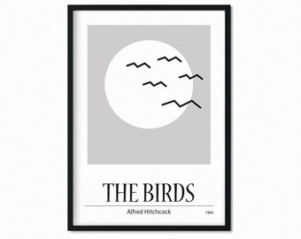 Modern retro movie poster, The Birds, minimal poster