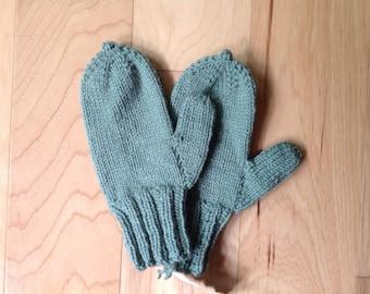 Hand Knit Sage Green Mittens