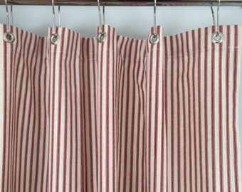Red Ticking Stripe Shower Curtain 72x72 Or Extra Long 72x84 Etsy