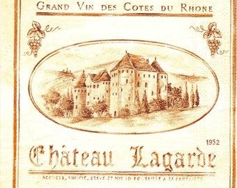 281 label wine Castle LAGARDE 1 towel paper 33 X 33 X 4 design