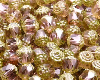 25pcs Czech Fire-Polished Faceted Glass Bols Cathedral Beads Round 8mm Light Amethyst Green Fired Colour