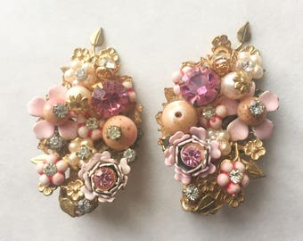 Beaujewels Pin Earrings with Tons of Applied Flowers and Rhinestones
