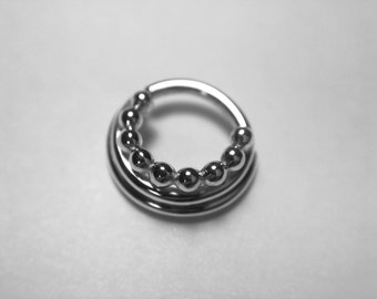Triple Layered Beaded Septum Ring - Piercing - Rook - Conch - Nostril - Tragus - Daith - Helix - Nickel Free Sterling Silver
