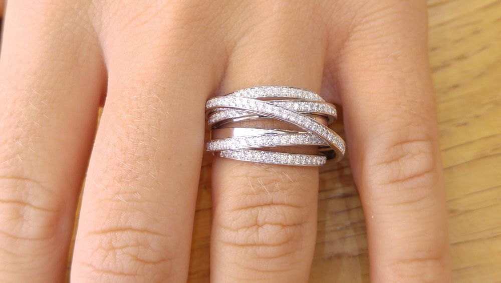 1 2 Carat Multi Row Ring 14K White Gold Wedding Band