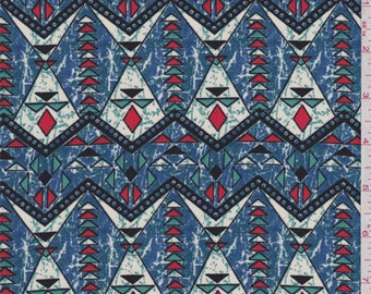 Cadet Blue Southwest Diamond Print Polyester Crepe, Fabric By The Yard
