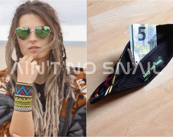 Secret pocket wristband/ anklet various colors, hidden compartment with zipper for psytrance/ rave festivals, concerts...