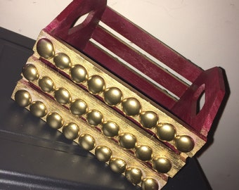 Burgundy & Gold Gem Basket | Home Decor