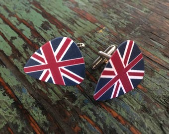 UK guitar pick cufflinks / Bucks party /Personalized cufflinks / Grooms cufflinks / Custom cufflinks / Boutons de manchette