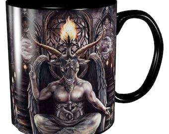 Baphomet Mug  -  baphomet mug  occult gothic lucifer witch cup drinking beaker tankard