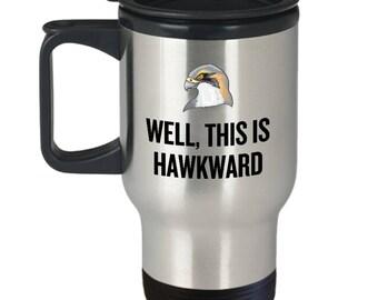 Funny Birdwatching Travel Mug - Birding Gift Idea - Bird Watching - Present For Birder - This Is Hawkward - Hawk - Ornithologist
