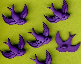 PURPLE BIRD - Swallow Garden Girl Novelty Dress It Up Craft Buttons