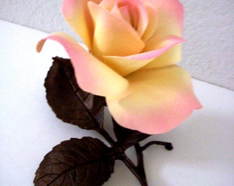 80s BOEHM Peace Rose - Vintage 1980s Bronze Boehm Peace Rose Figurine - Limited Issue Peace Rose Made in England