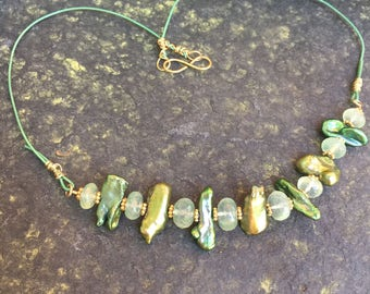 Prehnite and Green Stick Pearls Leather Necklace  Hand Forged clasp   Gemstone Necklace  Luxe