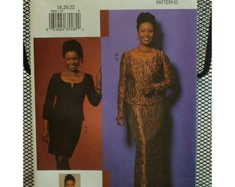 Corselette Style Top Pattern, Lined,Boned, Scoop Neck, Long Sleeves, Fitted Skirt, Long/Short, B.Smith, Vogue No. 7626 UNCUT Size 18 20 22
