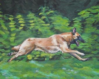 Belgian Malinois dog art CANVAS print of LA Shepard painting 11x14