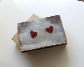 Heart Enamel Glitter Stud Earrings