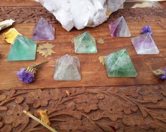 Rainbow Fluorite Crystal Pyramid