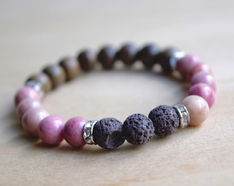Rhodonite Bracelet / yoga gift for mom, gift for yoga mom, always be yourself, love stone bracelet, how to love yourself, self care, group 3