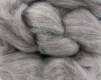 1 pound Grey Shetland combed top, roving, spinning fiber, felting fiber, fiber, fibre, gray
