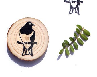 Hand carved rubber stamp NZ wood pigeon / kereru