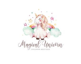 unicorn logo design rainbow logo star logo children boutique logo kids business logo cute logo colorful premade logo baby photography logo